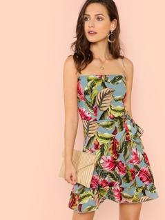 Tropical Print Spaghetti Strap Wrap Dress