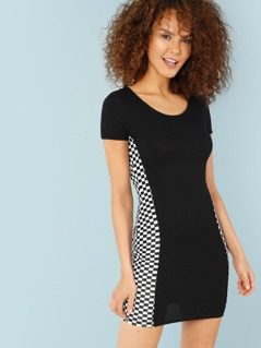 Ribbed Knit Check Print Contrast Dress
