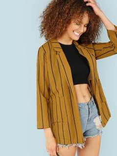 Stripe Open Front Blazer with Dual Pockets