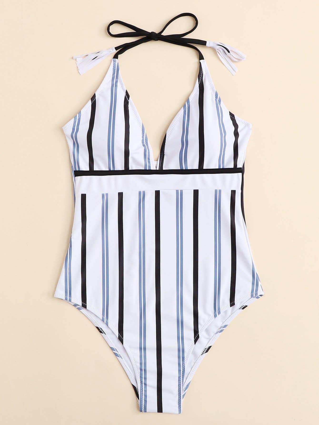 Plus Tassel Detail Striped Swimsuit tassel detail striped swimsuit