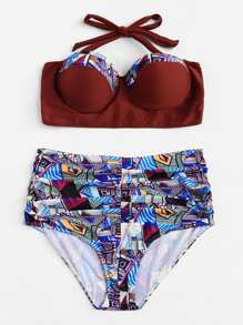 Plus Mixed Print Halter Bikini Set