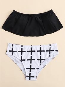 Plus Cross Print Bikini Set