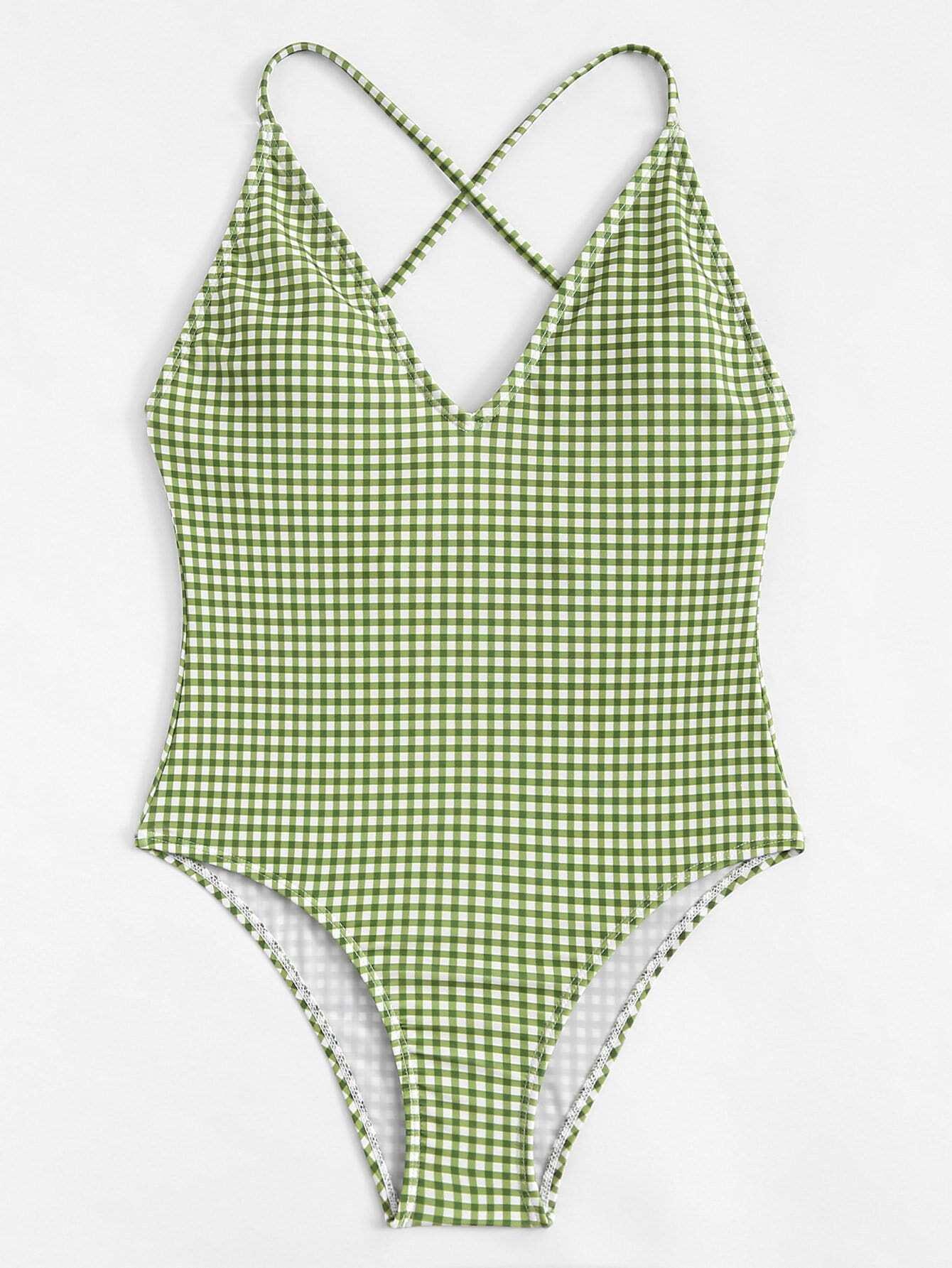 Plus Criss Cross Gingham Swimsuit plus size criss cross swimsuit