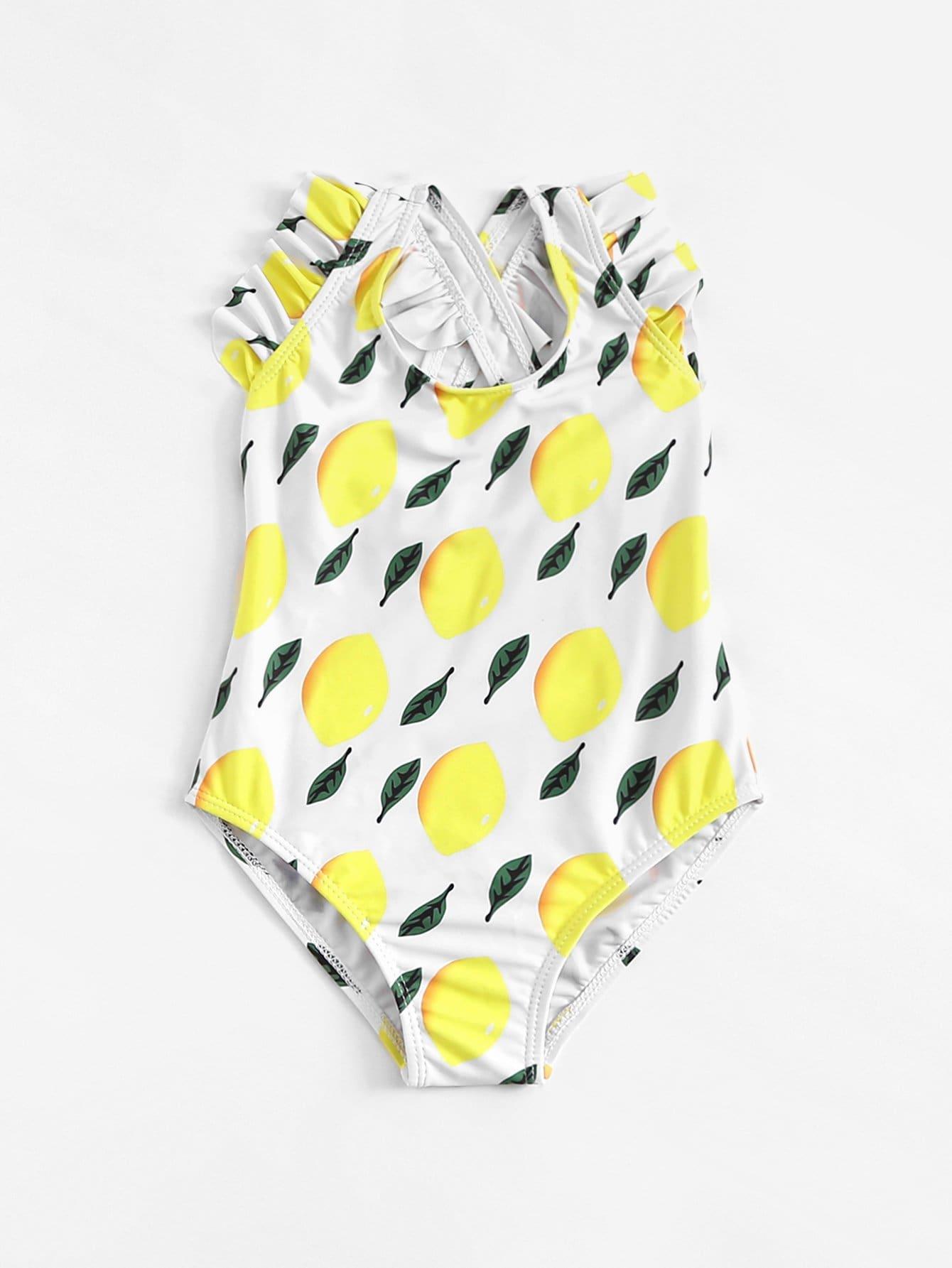 Girls Fruit Print Ruffle Swimsuit