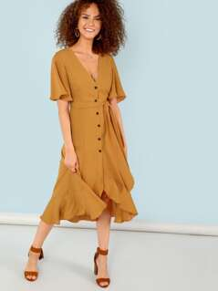 Button Up Short Sleeve Ruffle Dress