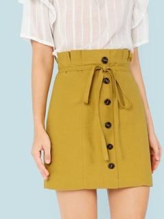 Paper Bag Tie Waist Skirt with Buttons