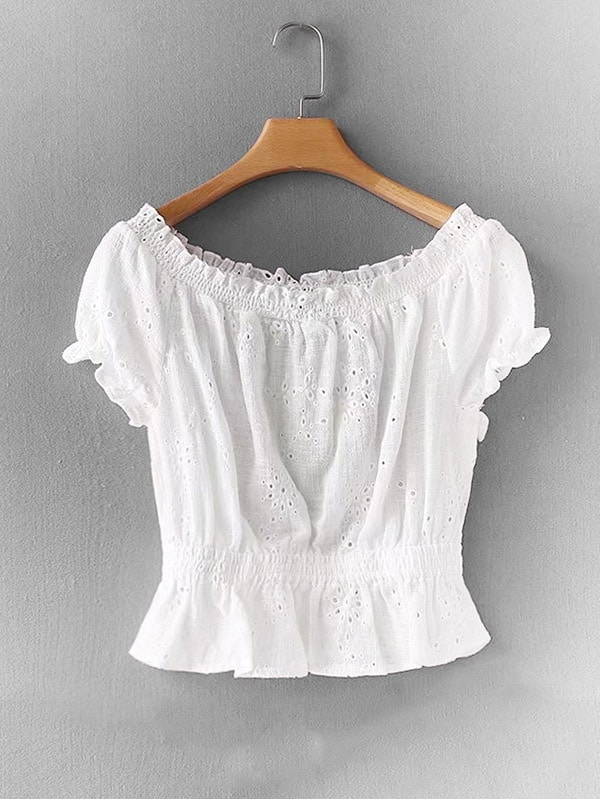 Eyelet Embroidered Frill Trim Blouse eyelet long sleeve frill trim top