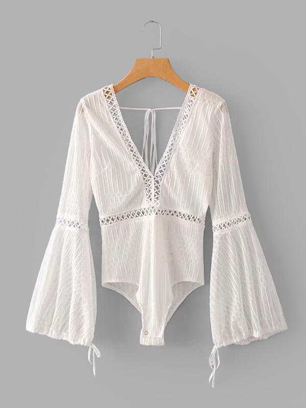 Lace Panel Open Back Flounce Sleeve Bodysuit embroidered lace panel bodysuit