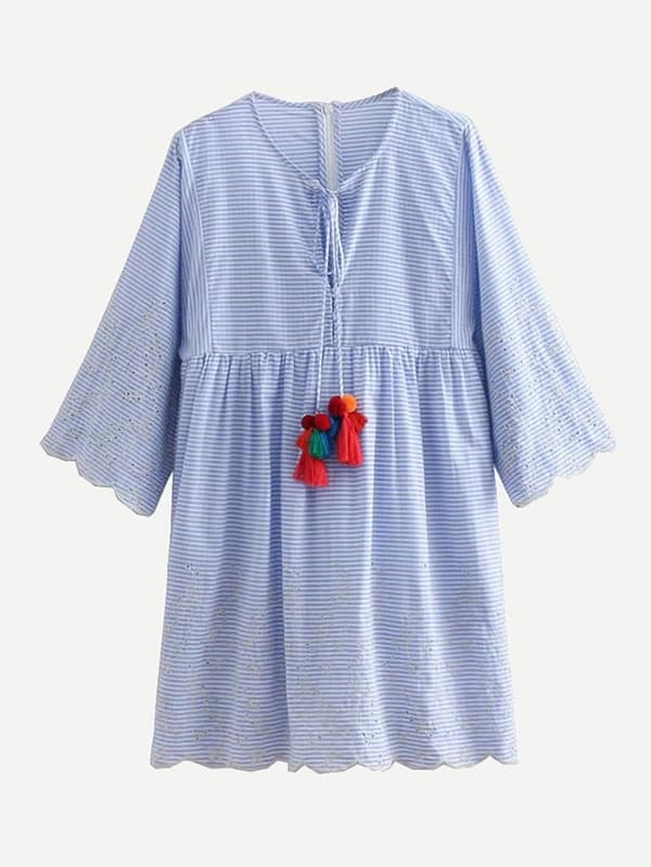 Eyelet Embroidered Scallop Edge Babydoll Dress by Sheinside