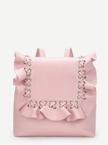 Ruffle Flap PU Backpack
