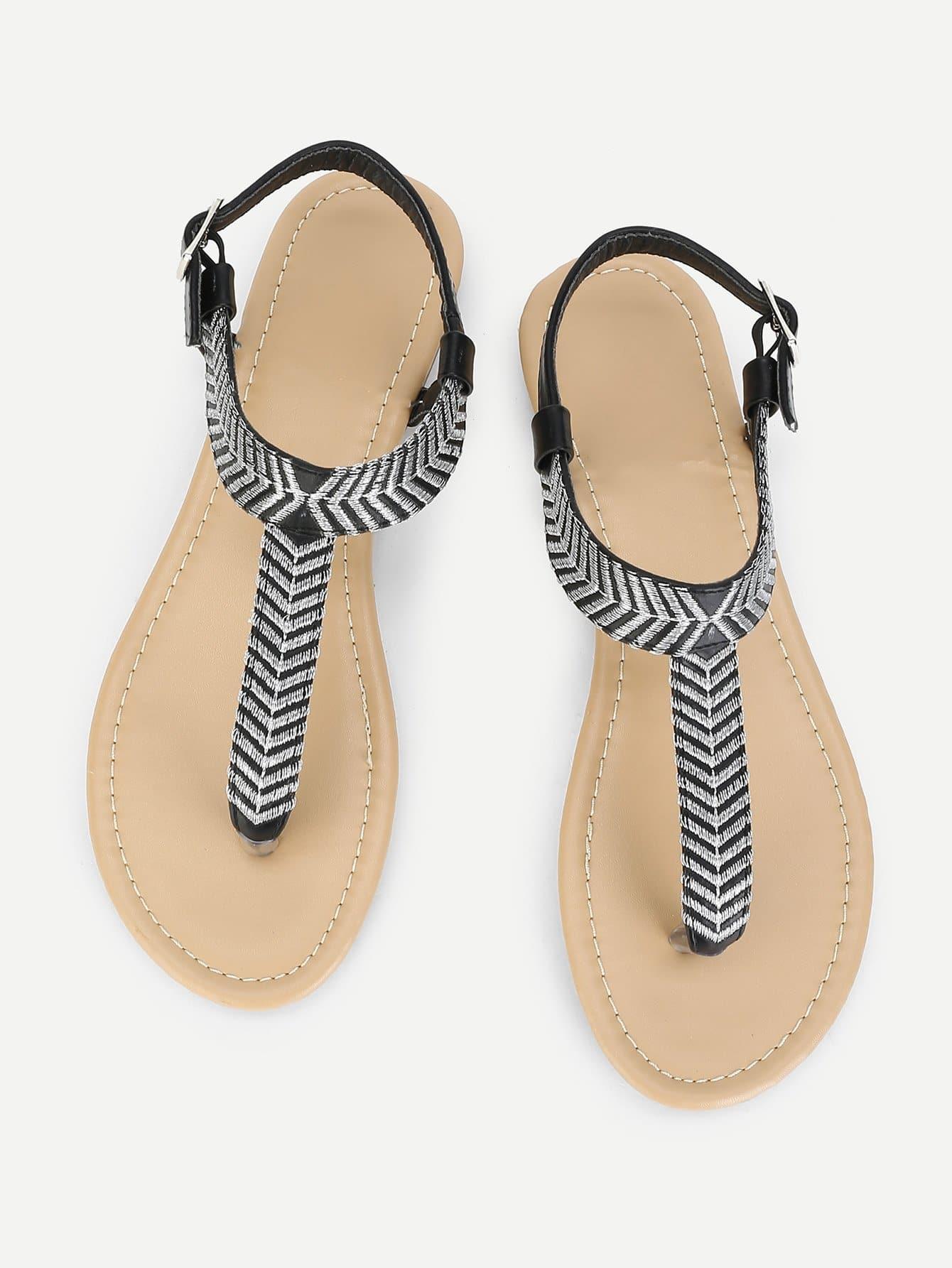 Купить Вышивка Деталь Toe Post Плоские сандалии, null, SheIn
