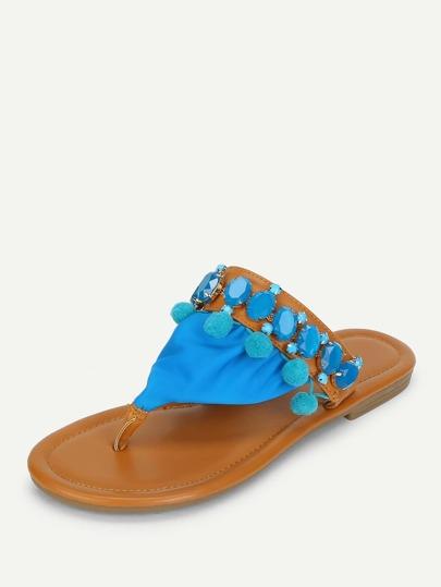 Pom Pom Decorated Flat Sandals