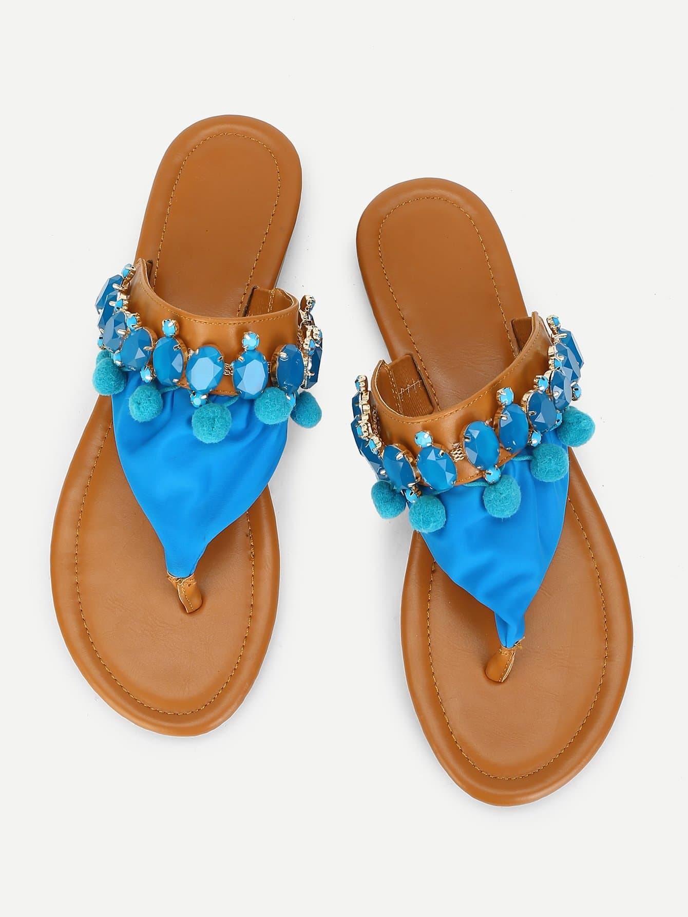 Pom Pom Decorated Flat Sandals pom pom detail tie leg flat sandals