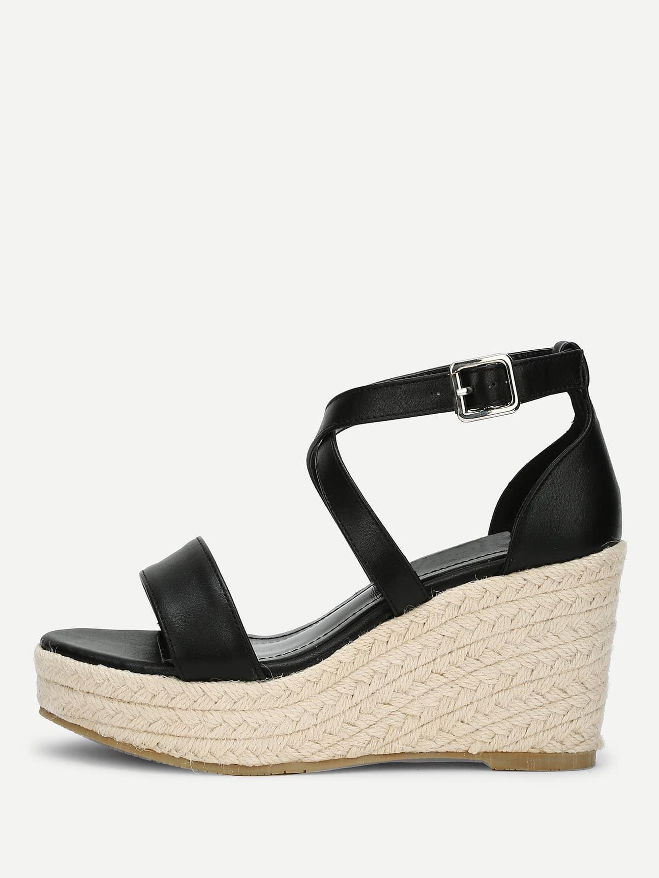 Platform Criss Cross Wedge Sandals cross–platform perl