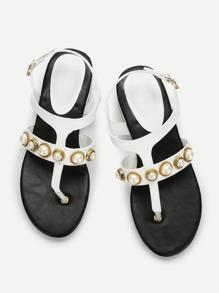 Faux Pearl Toe Post Flat Sandals
