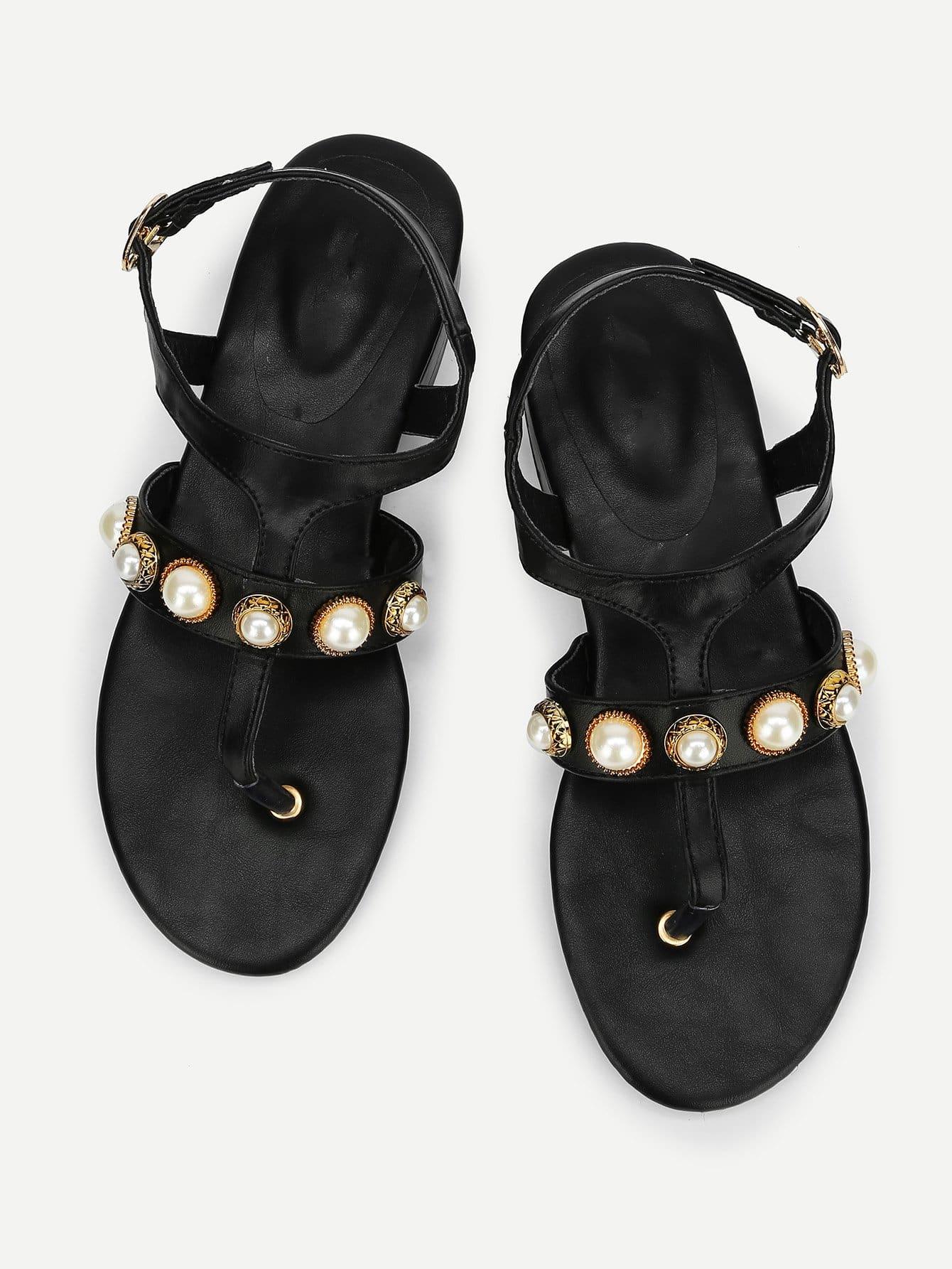 Купить Фальшивые перламутровые плоские сандалии, null, SheIn