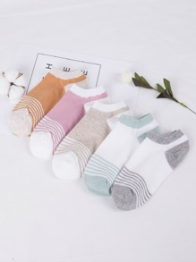 Striped Pattern Ankle Socks 5Pairs