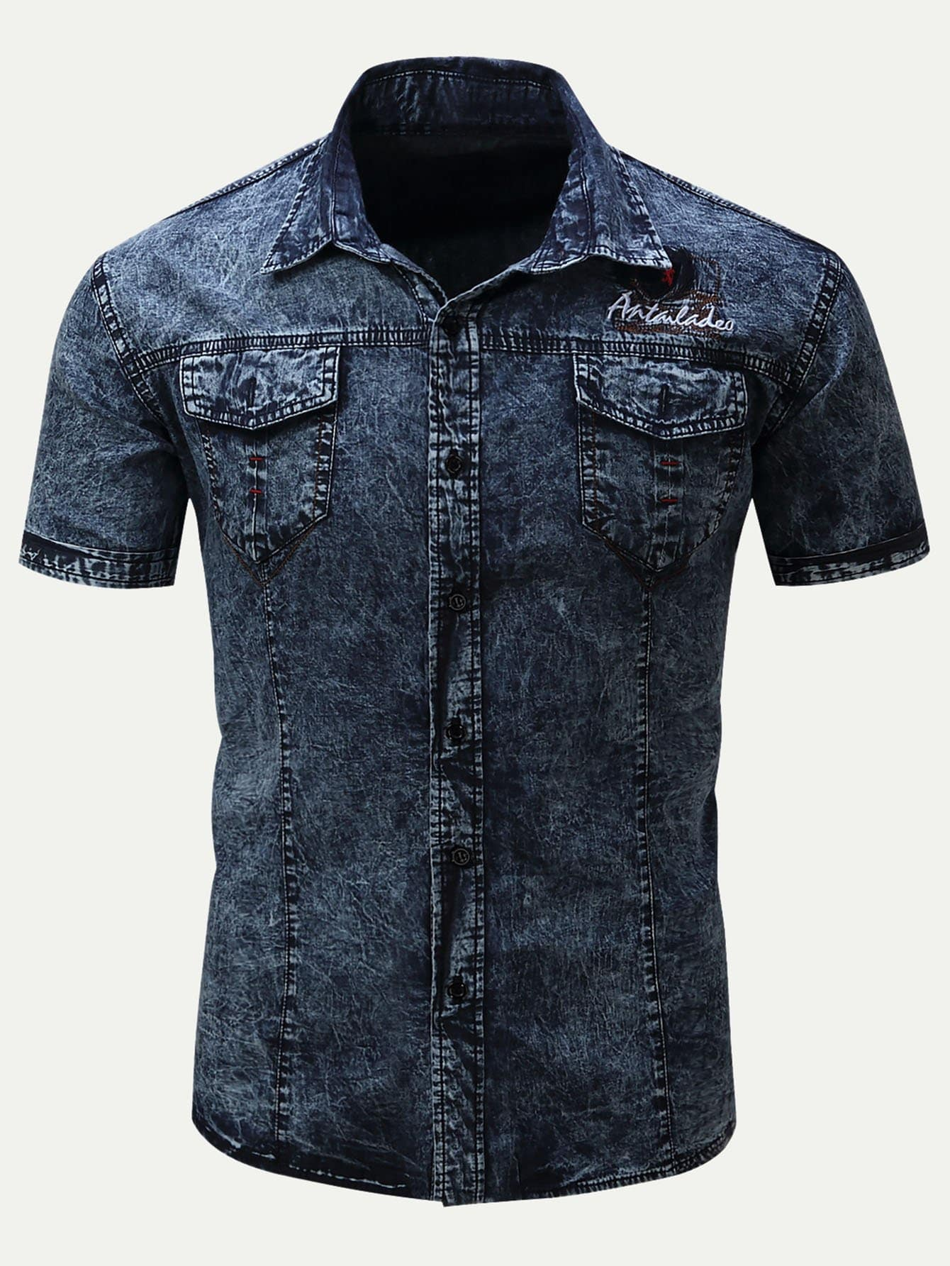 Men Letter Print Embroidery Denim Shirt men letter embroidery side jeans