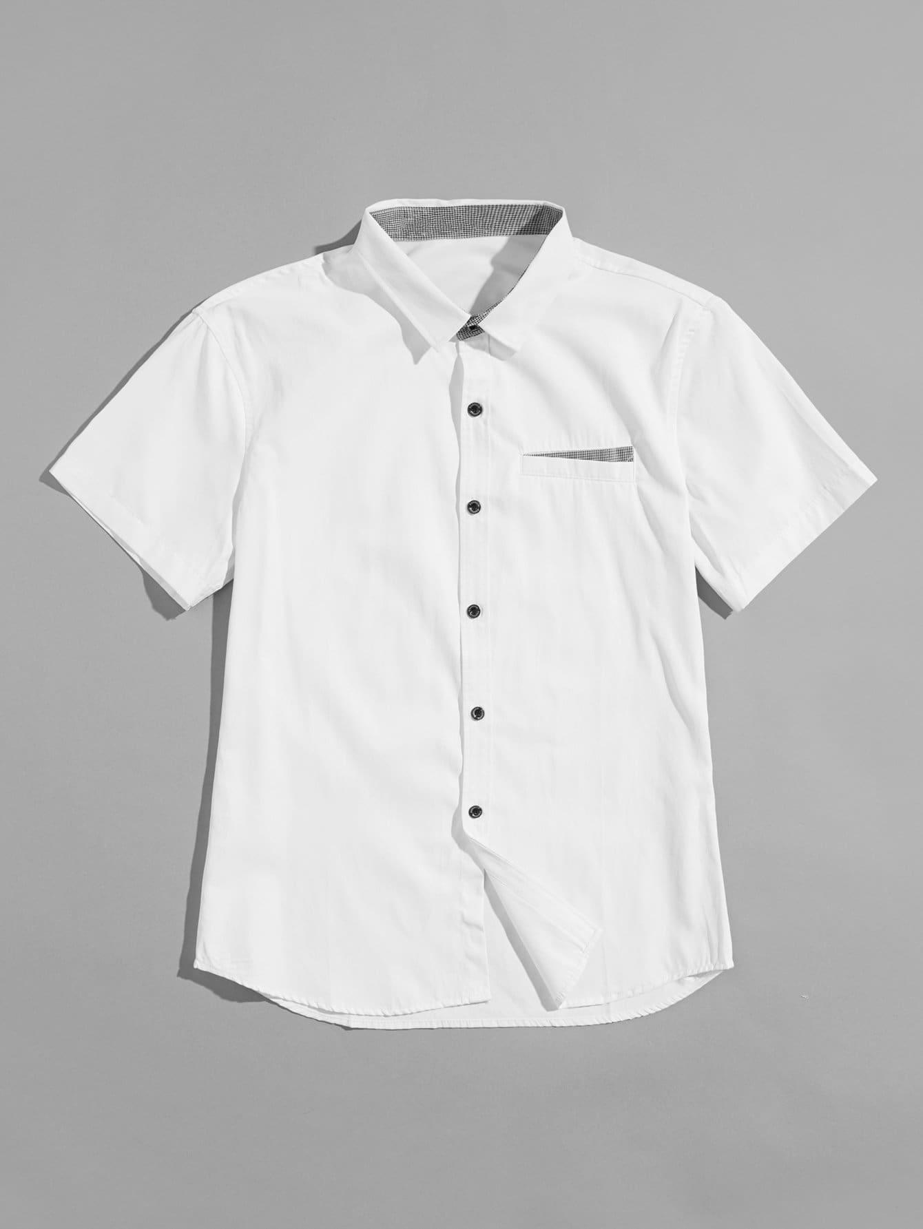 Купить Мужская кнопка Подробнее Твердая рубашка, null, SheIn