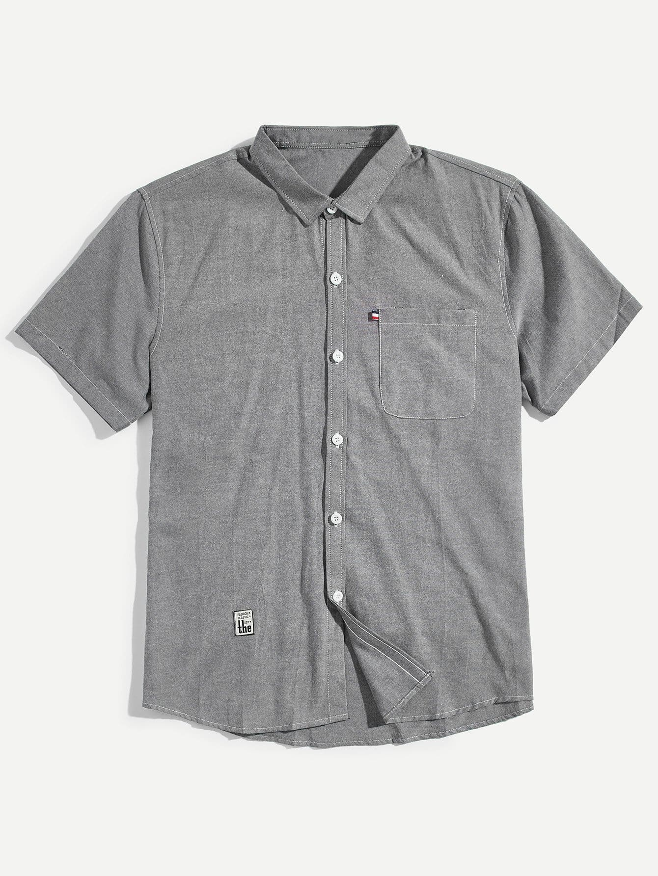 Купить Мужская патч Подробнее Твердая рубашка, null, SheIn