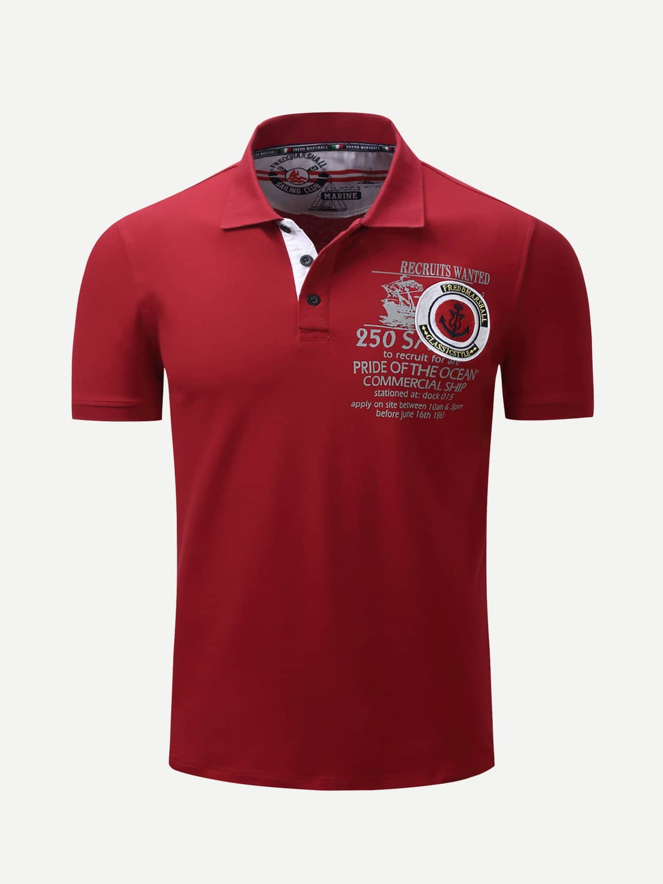 Men Letter Print Embroidery Polo Shirt men letter embroidery side jeans
