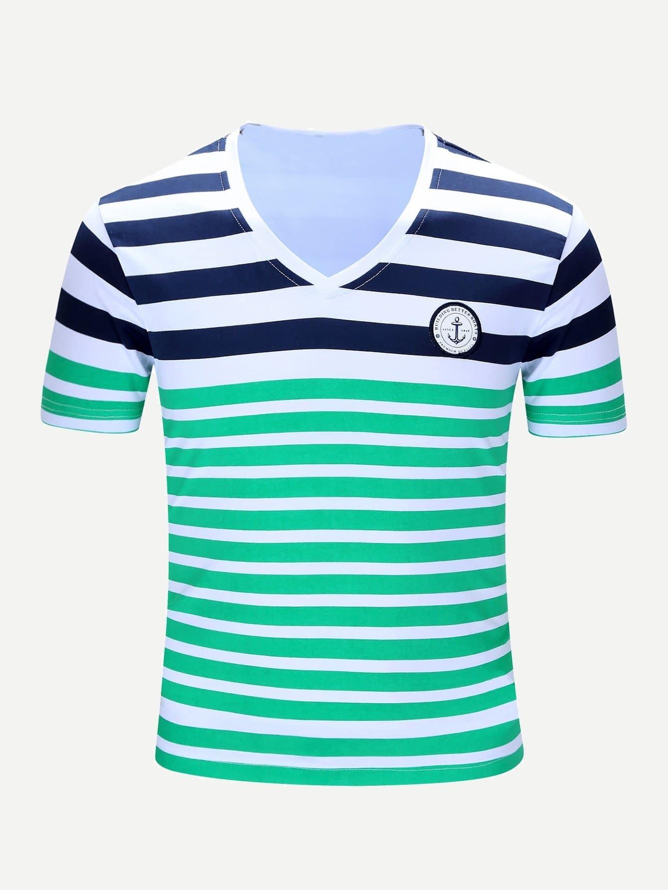 Купить Мужская патч Подробнее Полосатая футболка, null, SheIn