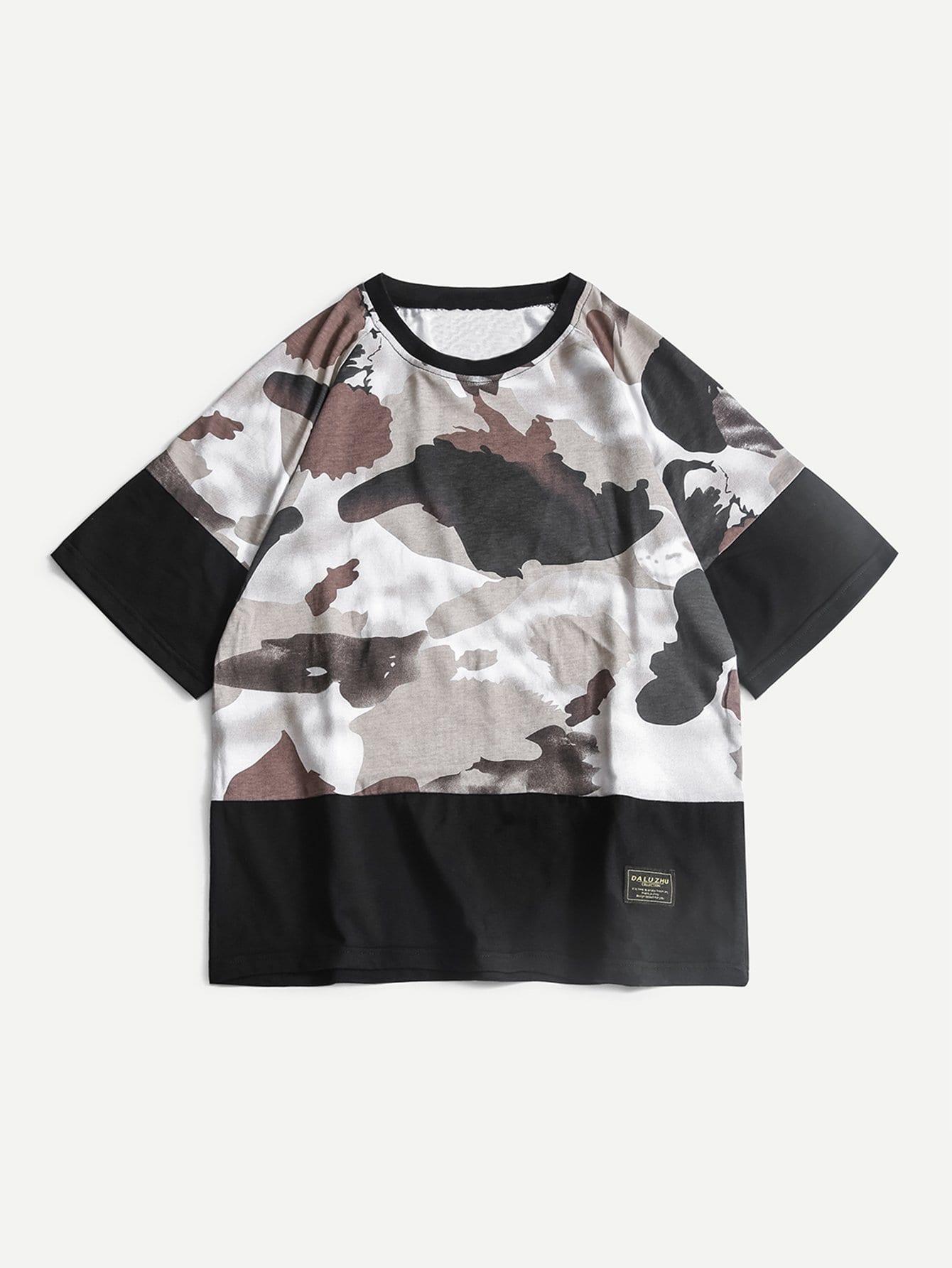 Купить Мужская патч Подробнее Камуфляжная футболка, null, SheIn