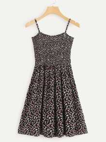 Calico Print Pleated Cami Dress