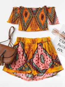 Off Shoulder Random Print Top With Shorts