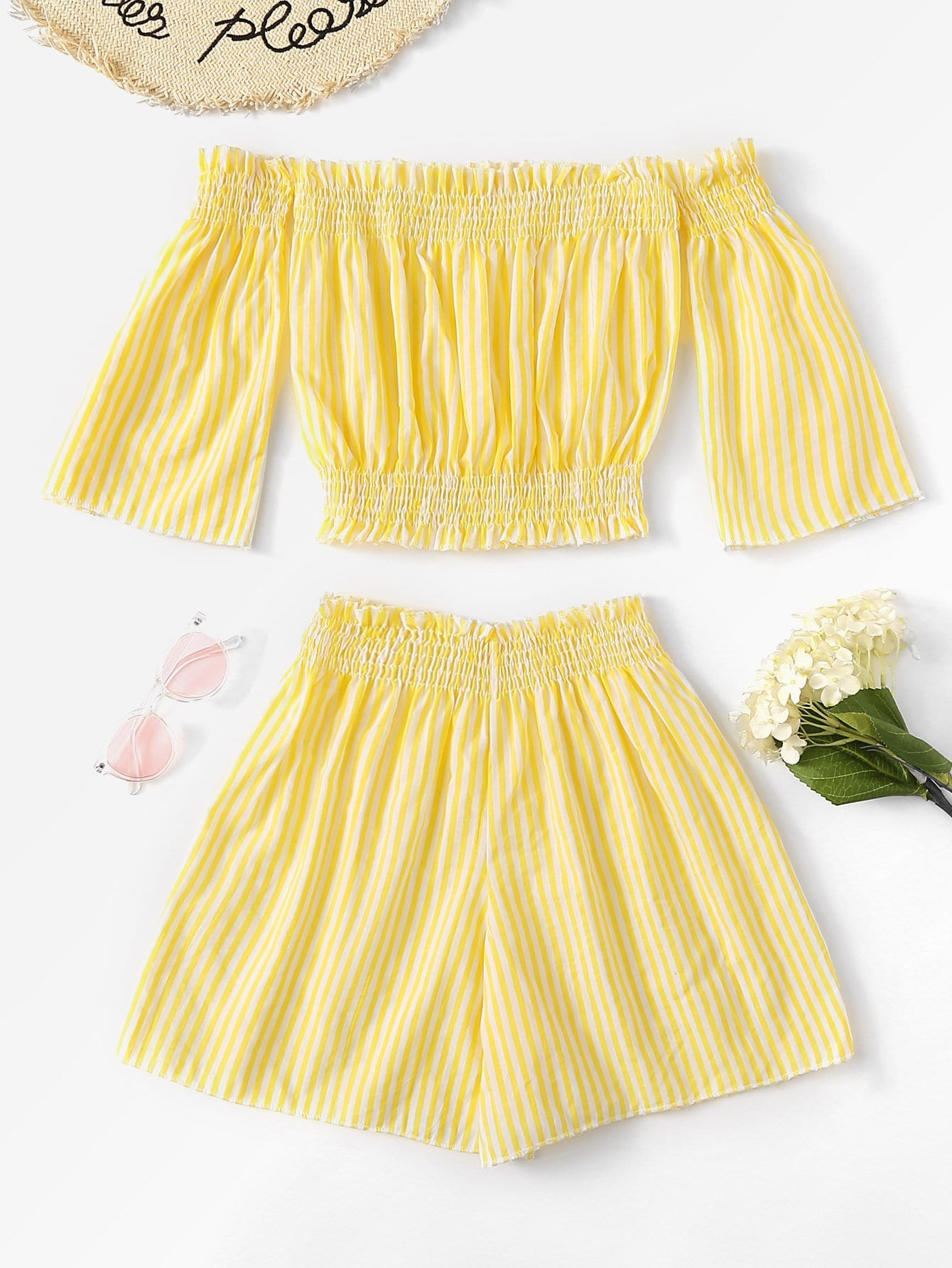 Off Shoulder Frill Trim Striped Top With Shorts off shoulder frill trim striped top