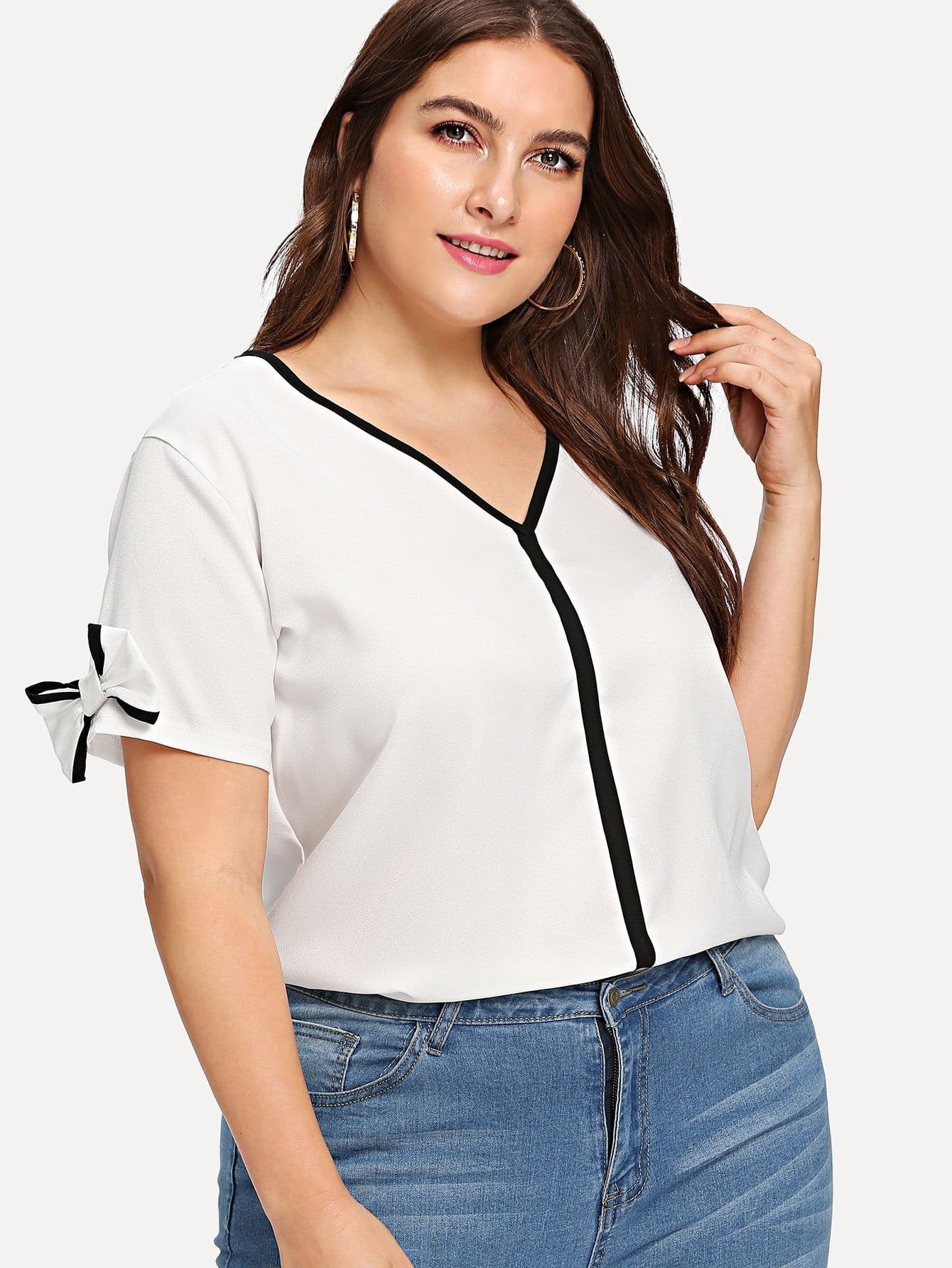Plus Bow Sleeve V Neckline Blouse bow sleeve v neckline blouse