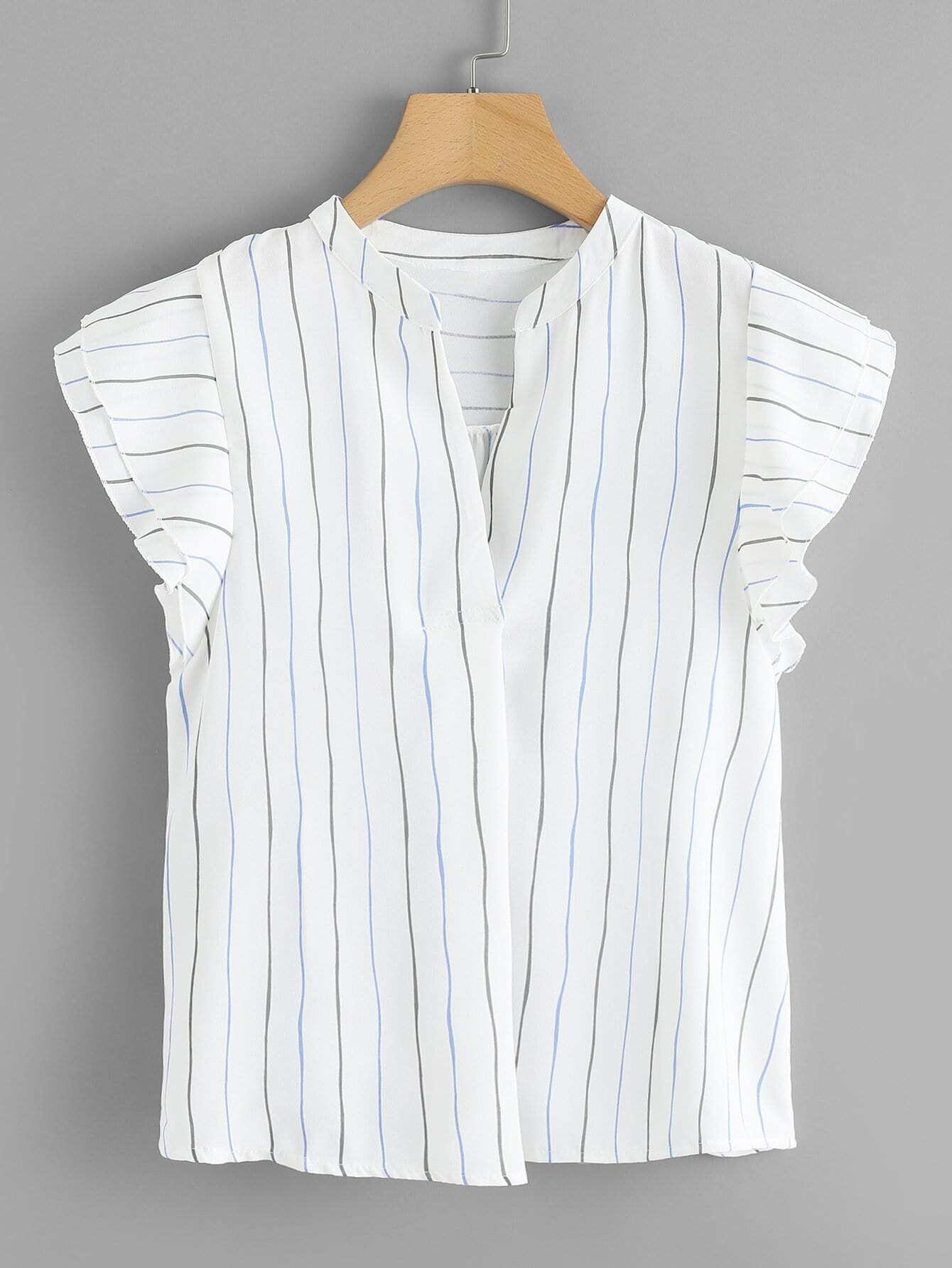 Купить V Cut Neck Ruffle Sleeve Striped Top, null, SheIn
