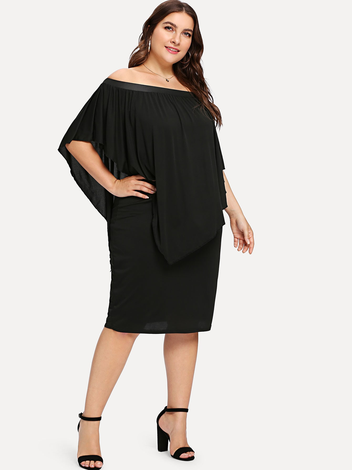 Plus Off Shoulder Batwing Sleeve Dress