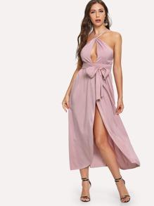 Tie Back Split Side Backless Halter Dress