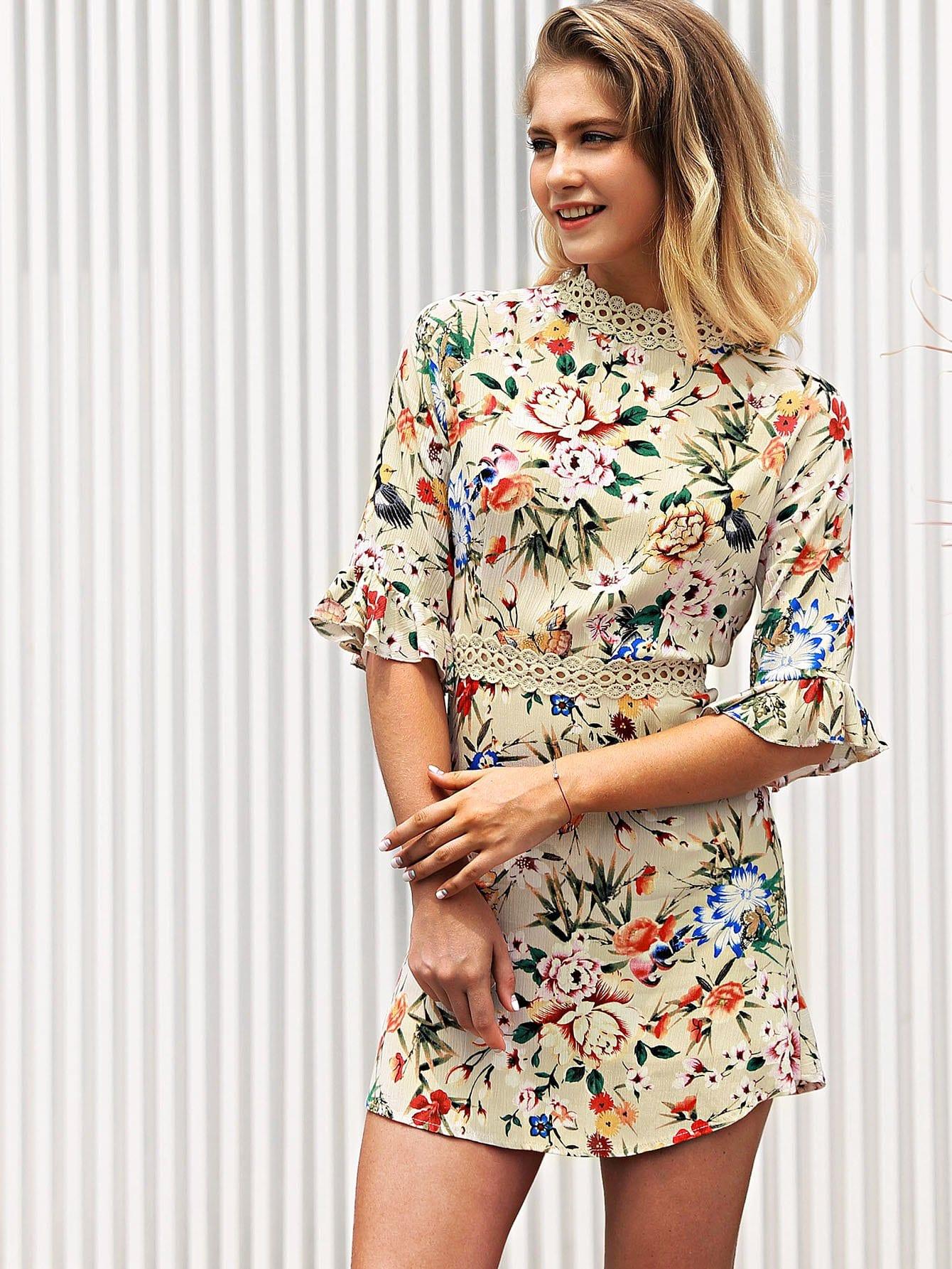 Lace Panel Fluted Sleeve Floral Dress double v neck fluted sleeve jumper