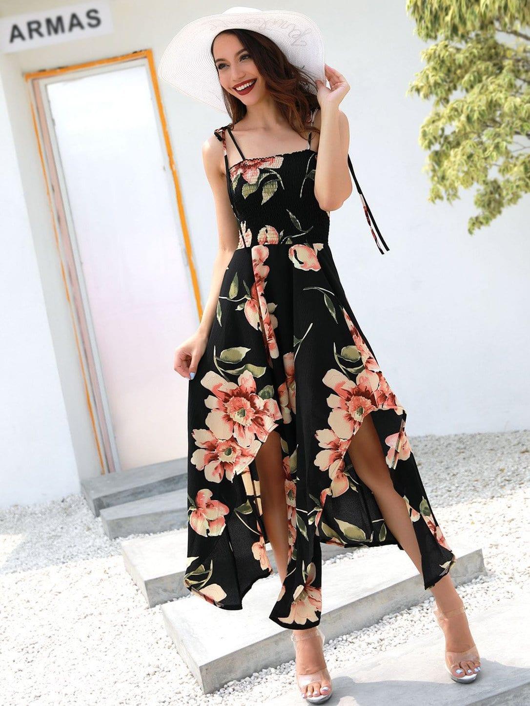 Купить Цветочная печать Split Hem Cami Dress, null, SheIn