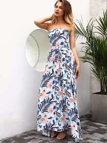 Floral Print Split Tube Dress