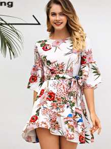 Self Tie Waist Floral Dress