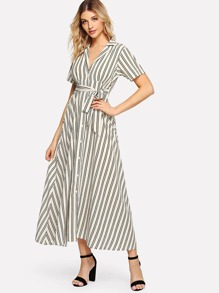 Cut Out Back Striped Dress