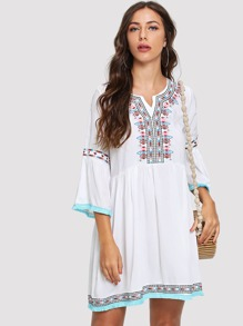 Geo Embroidered Fluted Sleeve Dress