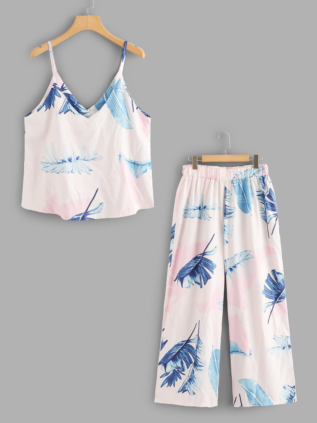 Plus Tropical Print Cami With Pants tropical print cami with pants