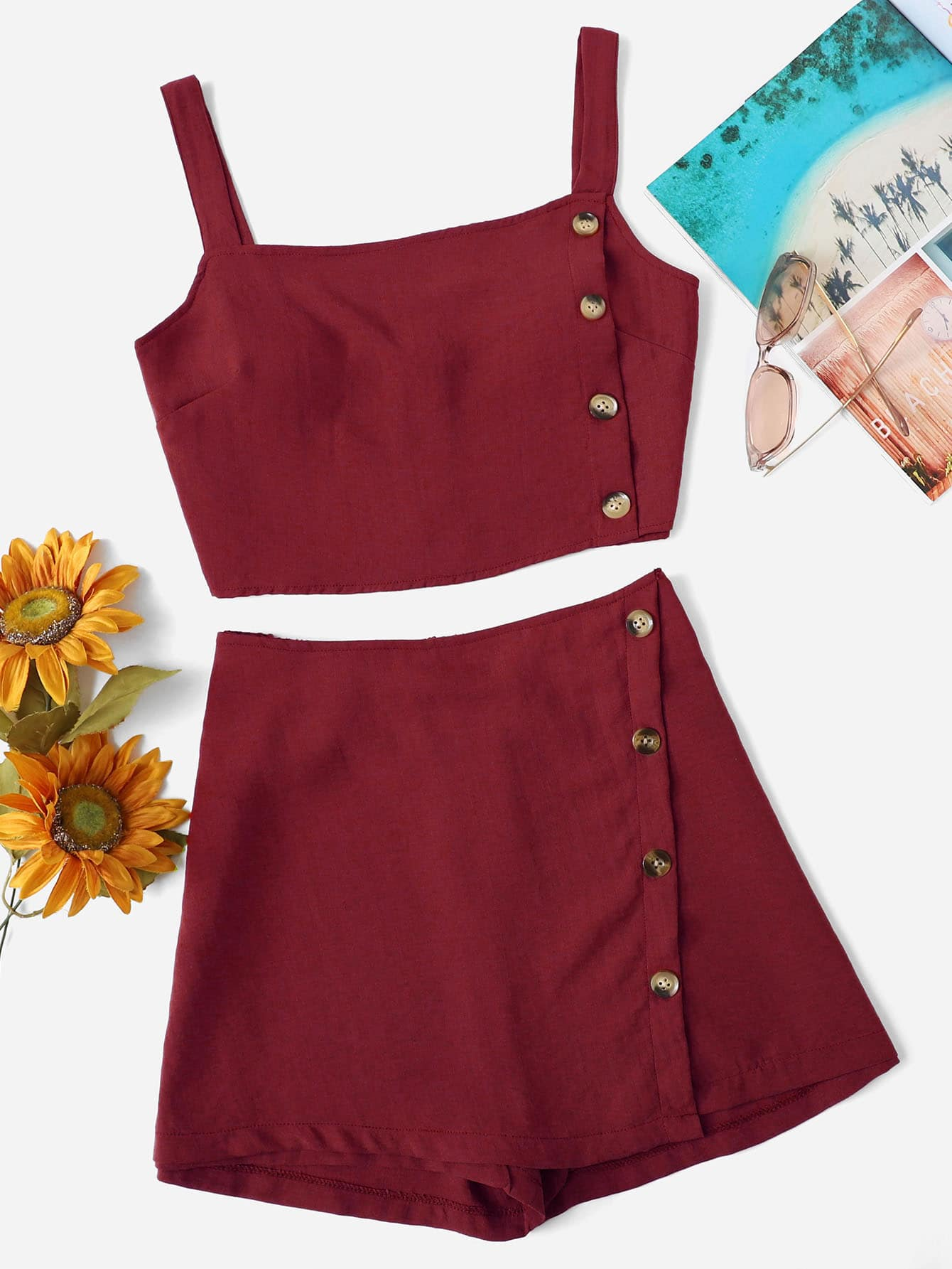 Button Side Crop Cami Top With Shorts button decoration cami with drawstring shorts