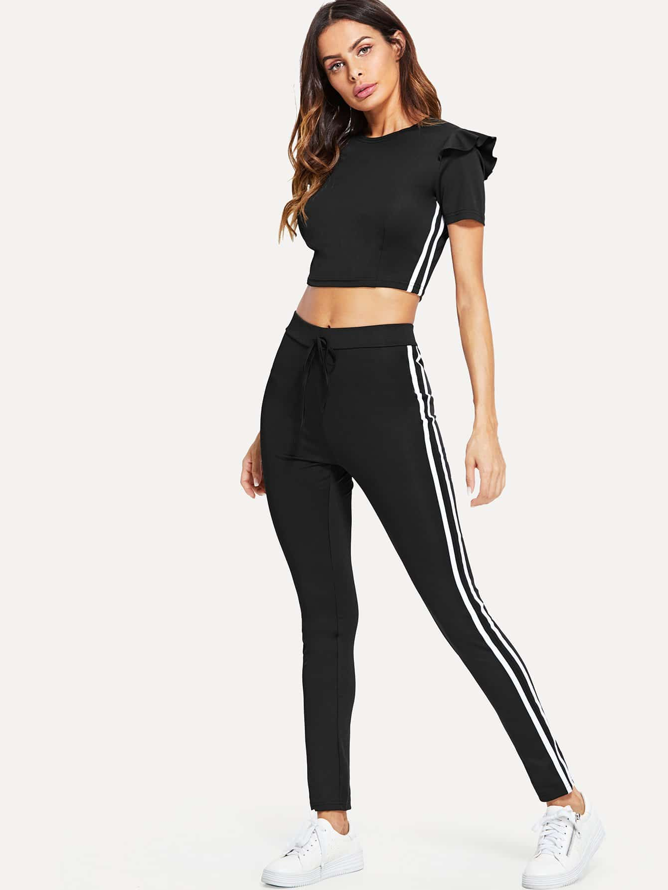 Striped Tape Side Ruffle Trim Top With Pants striped tape side legging shorts