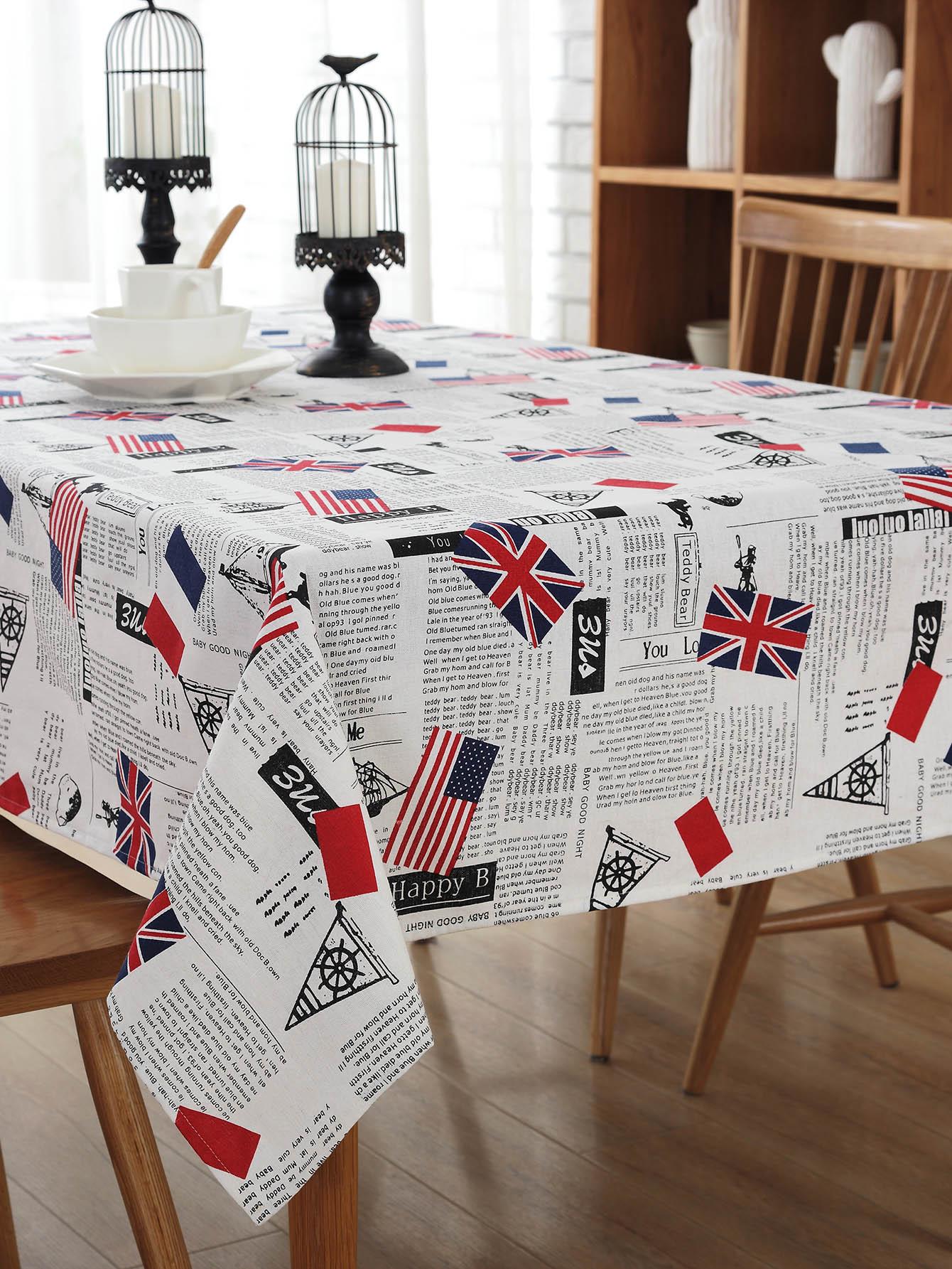Newspaper Print Table Cloth telephone booth big ben print table cloth