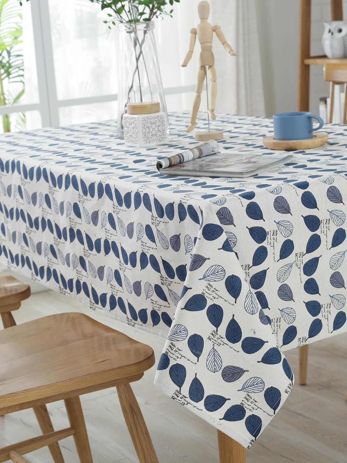 Leaves Overlay Print Table Cloth