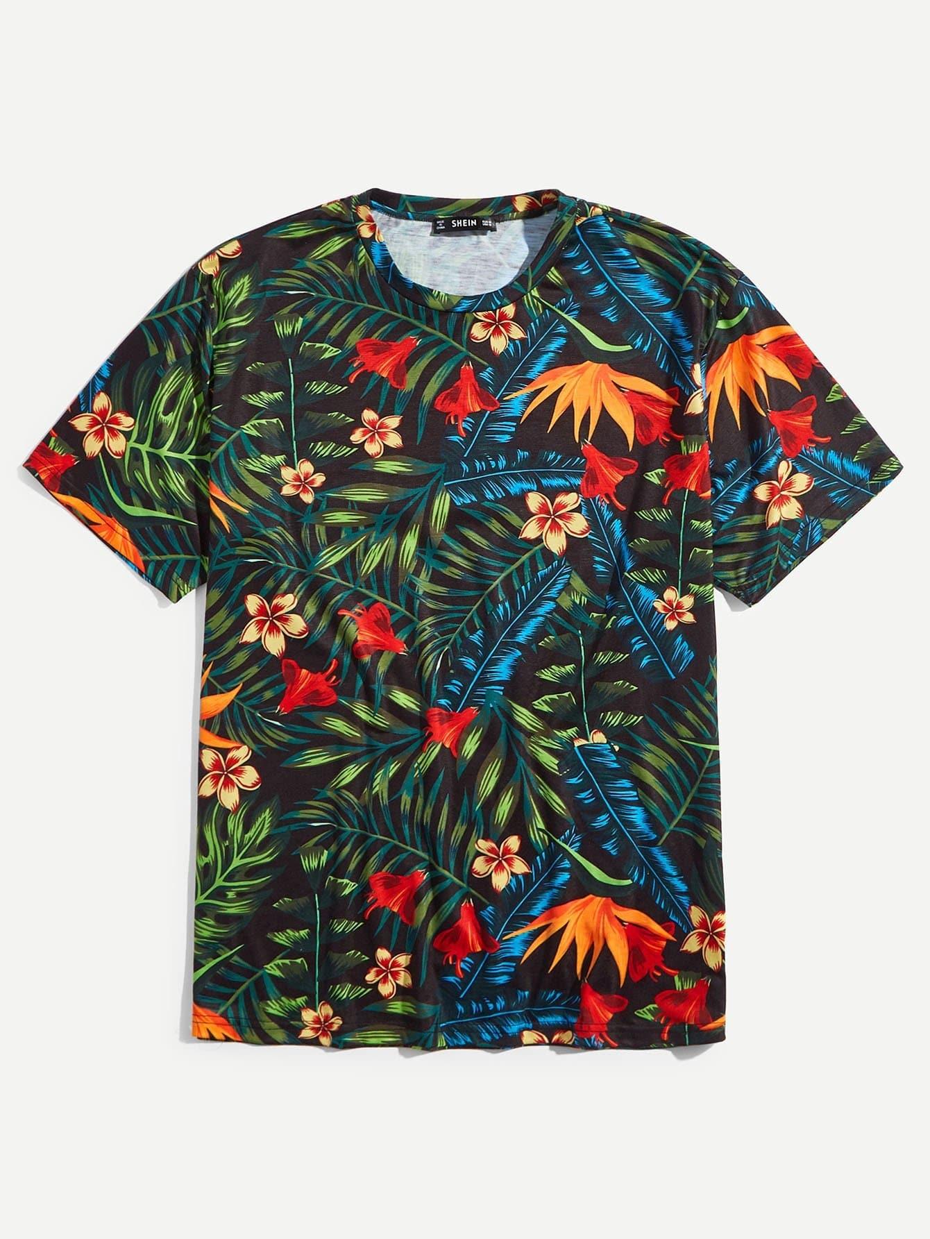 Men Jungle Leaf Print T-shirt все цены