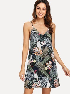 Tropical Print V-Neck Cami Dress