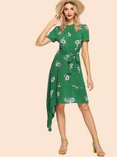 Twist Neck Belted Asymmetric Floral Dress