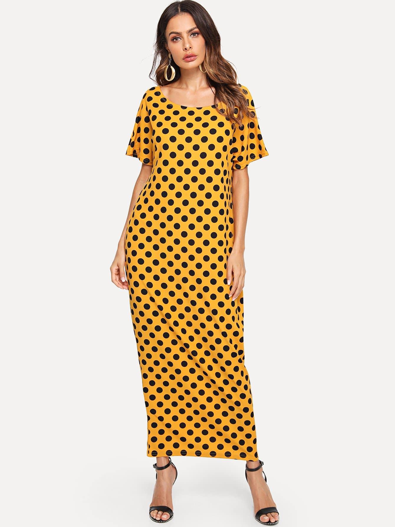 Hidden Pocket Detail Polka Dot Cocoon Dress lace panel pearl detail polka dot dress