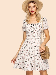 Puff Sleeve Half Placket Calico Dress